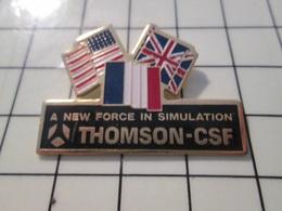 615B Pin's Pins / Beau Et Rare / THEME : MILITARIA / THOMSON CSF A NEW FORCE IN SIMULATION - Militair & Leger