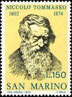 San Marino 1974 Scott 851 Sello ** Niccolo Tommaseo (1802-1874) Michel 1081 Yvert 884 Stamps Timbre Saint Marin - San Marino