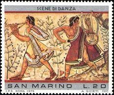 San Marino 1975 Scott 854 Sello ** Pinturas Etruscas Musicians, From Leopard Tomb, Tarquinia Michel 1083 Yvert 887 Stamp - San Marino