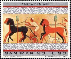 San Marino 1975 Scott 855 Sello ** Pinturas Etruscas Chariot Race, From Tomb On The Hill, Chiusi Michel 1084 Yvert 888 - San Marino