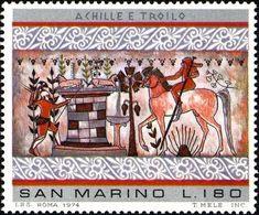 San Marino 1975 Scott 856 Sello ** Pinturas Etruscas Achilles And Troilus, From Bulls' Tomb, Tarquinia Michel 1085 - San Marino