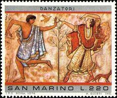 San Marino 1975 Scott 857 Sello ** Pinturas Etruscas Dancers From Triclinium Tomb, Tarquinia Michel 1086 Yvert 890 Stamp - San Marino