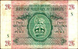 "20024) BANCONOTA DELLA  BRITISH MILITARY AUTORITY "" 2/6 SHILLINGS ""    -banconota Non Trattata.vedi Foto - Ocupación Aliados Segunda Guerra Mundial"