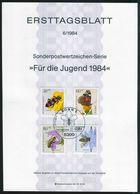 BRD - 1984 ETB 06/1984 - Mi 1202 / 1205 - Bestäuberinsekten, Jugend 1984 - FDC: Hojas
