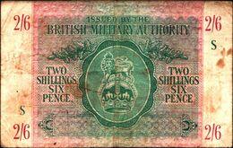 "20023) BANCONOTA DELLA  BRITISH MILITARY AUTORITY "" 2/6 SHILLINGS ""    -banconota Non Trattata.vedi Foto - Ocupación Aliados Segunda Guerra Mundial"