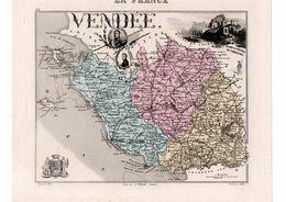 Carte Du Département De Vendée, Dressée Par Vuillemin. Atlas Migeon 1874-76. - Carte Geographique