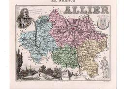 Carte Du Département De L'Allier, Dressée Par Vuillemin. Atlas Migeon 1874-76. - Carte Geographique