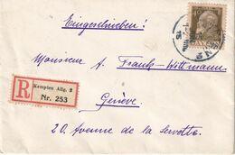 BAYERN 1915  LETTRE RECOMMANDEE DE KEMPTEN AVEC CACHET ARRIVEE GENEVE - Bayern