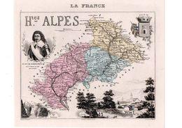 Carte Du Département Des Hautes Alpes, Dressée Par Vuillemin. Atlas Migeon 1874-76. - Carte Geographique
