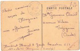 MILITARIA GUERRE 39/45 CPA MEYMAC CORREZE Vers AUDE CACHET 3e LEGION DE LA GARDE REPUBLICAINE MARTINET DETACHE à MEYMAC - Marcophilie (Lettres)