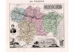 Carte Du Département De L'Aude, Dressée Par Vuillemin. Atlas Migeon 1874-76. - Carte Geographique
