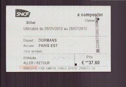 """Ticket """" TER """" Aller-retour Dormans-Paris Du 29 Mai 2012 - Titres De Transport"""