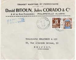 ALGERIE- PHILIPPEVILLE -JUDAÏCA -ENVELOPPE TRANSIT MARITIME - 1 AOUT 1958 - Algeria (1962-...)