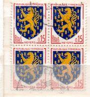 FRANCE N° 1354 15C ROUGE BLEU FONCE ET JAUNE BLASON DE NEVERS  BLOC DE 4 OBL - France