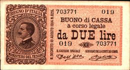 20039) BANCONOTA DA 2 LIRE BUONO DI CASSA VITTORIO EMANUELE III DECR 21 SETTEMBRE 1914 -banconota Non Trattata.vedi Foto - [ 3] Emissions Militaires