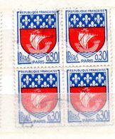 FRANCE N° 1354B 30C BLEU ET ROUGE BLASON DE PARIS  BLOC DE 4 OBL - France