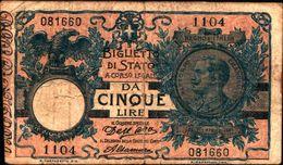 20040)  5 LIRE BIGLIETTO DI STATO  VITTORIO EMANUELE III DECR 27-12- 1911 -banconota Non Trattata.vedi Foto - [ 3] Emissions Militaires