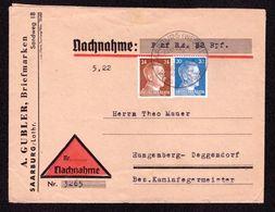 DR Brief Nachnahme SAARBURG (WESER) Tor Zu Den Vogesen - Hengersberg-Deggendorf - 23.10.41 - Mi.791,792 - Deutschland