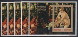 O24. 5x Manama - MNH - Art - Paintings - Italian - Imperf - Wholesale - Art