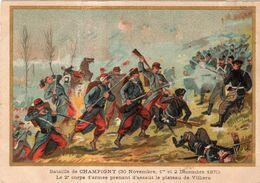 Carte Signée G. Germain. Bataille De Champigny ( 30 Novembre, 1 Et 2 Décembre 1870. L'assaut Du Plateau De Villiers - Andere Kriege