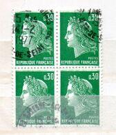 FRANCE N° 1611 30C VERT TYPE CHEFFER  BLOC DE 4 OBL - France