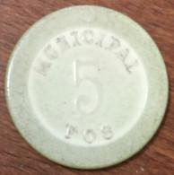 13 FOS-SUR-MER CASINO MUNICIPAL JETON DE 5 FRANS N°1261 CHIP TOKEN COIN RARE - Casino