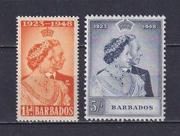 BARBADOS 1948, SG# 265-266, Royal Silver Wedding, MH - Barbados (...-1966)