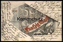 ALTE POSTKARTE GELDSCHEIN 50 MARK REICHSKASSENSCHEIN Um 1882 Money Monnaie Billet De Banque Bank Note Geld Cpa Postcard - Monete (rappresentazioni)