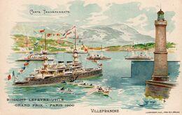 VILLEFRANCHE Carte à Système. Carte Transparente. Paquebot, Phare. Biscuits Lefèvre-Utile - Grand Prix - Paris 1906 - Villefranche-sur-Mer