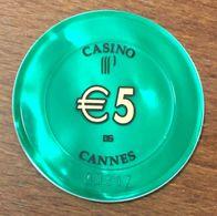 06 CANNES CASINO GROUPE PARTOUCHE 5 EURO N° 00317 CHIP TOKEN COIN - Casino