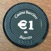 64 BIARRITZ CASINO BARRIÈRE JETON DE DE 1 EURO N° 00131 CHIP TOKEN COIN - Casino