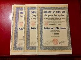 Cie  Des. MINES  D' OR  De  La  GUYANE  FRANÇAISE -------Lot  De  3  Actions  De  100 Frs - Mineral