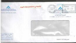 Maroc. Enveloppe Circulé 2020  Avec Auto  Collant Ajouté Par Moi Covid 19 Restez Chez-vous (en Arabe) - Enfermedades