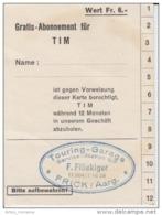 Switzerland - Frick Aargau - Touring Garage Service Station - Ticket Voucher - Auto - Tickets D'entrée