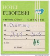 Poland - Krakow - Hotel Europejski - Ul. Lubicz 5 - Ticket - Voucher - See Verso - Eintrittskarten