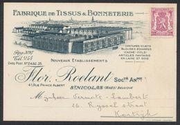 """N°711 Sur Petit Imprimé Publicitaire """"Fabrique De Tissus & Bonneterie"""" (St-Nicolas Waes) > Kortrijk - 1935-1949 Small Seal Of The State"""
