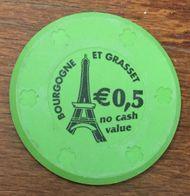 BOURGOGNE ET GRASSET 0,5 EURO NO CASH VALUE JETON DE CASINO DE DEMONSTRATION CHIP TOKEN COIN - Casino