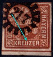 ✔️ Bayern 1850 - Plattenfehler - Kreuzer Mit Halbe Umlaut ( Krëuzer ) - Mi. 4 II (o) - Ab €1 - Bayern (Baviera)
