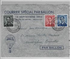 Boudewijn  Nr. 924/926  -  FDC   -   AUTOMOBIEL POSTKANTOOR  - 13-9-53   PAR BALLON!  -   BRUXELLES  -  TOP! - Belgium