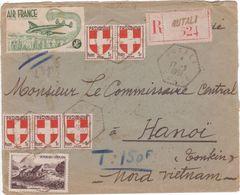 Lettre Recommandée 23,5 G CORSE > TONKIN 1951 étiquette AIR FRANCE Erreur Demande TAXE Tarif AVION (confusion) - Briefe U. Dokumente