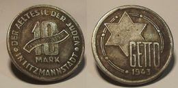 GETTO 10 MARK 1943 LITZMANNSTADT GERMAN COIN MONETA GHETTO EBREI JUDE JUIFE Auschwitz JUDE EBREI GERMANY - [ 4] 1933-1945 : Tercer Reich