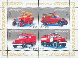Azerbaijan, 2006, Michel 665-668, Fire Engines, Block 70, MNH - Feuerwehr