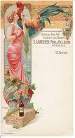 MENU PUBLICITAIRE S.LARCHER PERE & FILS à BORDEAUX  - ART NOUVEAU  - ( Carte Postale Détachable )  - RARE  - VOIR SCANS - Menus