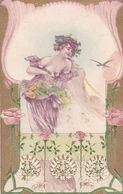ILLUSTRATION EROTIQUE, FEMME AVER FLEURS. GAUFFREE. CPA CIRCULEE 1907, TIMBRE ARRACHE. SOLD AS IS. -LILHU - Dibujos