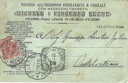 """8863""""NEGOZIO ALL'INGROSSO FERRARECCI E CEREALI-MICHELE & VINCENZO LEONE-PALERMO""""-CARTOLINA POSTALE ORIGINALE SPEDITA1909 - Negozi"""
