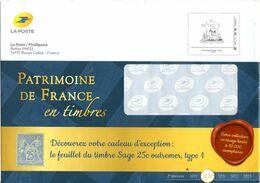 PAP Philaposte International 250g Patrimoine De France En Timbres Sur Enveloppe De Catalogue La Poste. 267790 - Entiers Postaux