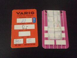 AVIATION - 2 CARTES D'EMBARQUEMENT - VARIG - RIO - Boarding Passes