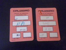 AVIATION - 2 CARTES D'EMBARQUEMENT - CRUZEIRO - SAO - Boarding Passes