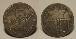 GETTO 5 MARK 1943 LITZMANNSTADT GERMAN COIN MONETA GHETTO EBREI JUDE JUIFE Auschwitz JUDE EBREI GERMANY - [ 4] 1933-1945 : Tercer Reich