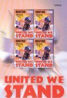 "Bhutan, 2002, Michel 2314, ""United We Stand""-firemen, Mini Sheet 2 X 2, MNH - Feuerwehr"